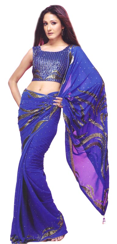 BLUE EMBROIDERED SAREE01