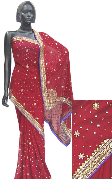 HOT RED EMBROIDRED SAREE