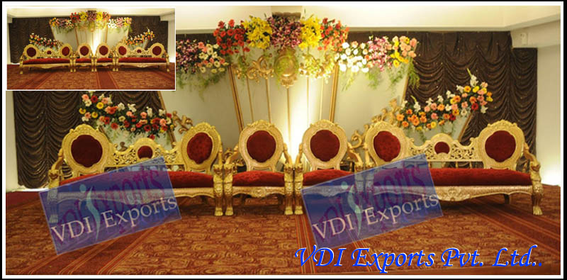 GOLDEN WEDDING THRONES WITH GOLDEN CHAIRS