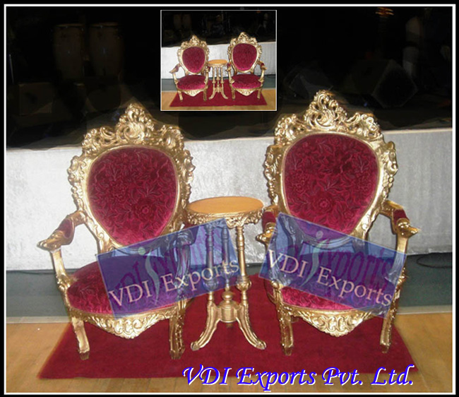 ROYAL GOLDEN CHAIRS WITH TABLE