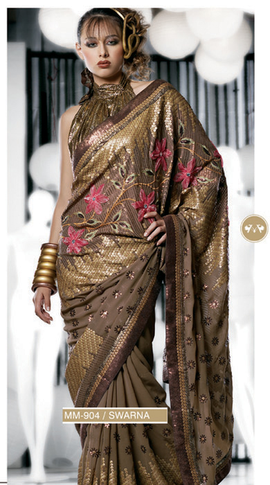 SWARNA DOUBLE BLOUSE SEQUINNED SAREE
