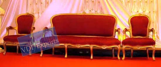 GOLDEN WEDDING THRONE WITH MATCHING CHAIRS