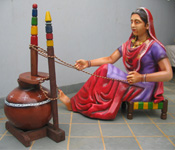 PUNJABI CULTURE MILK MIXING LADY FIBRE STATUE