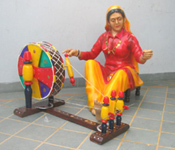 TRADITIONAL PUNJABI VILLAGER CULTURE FIBER STATUE
