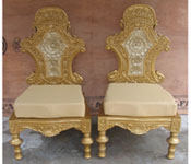 ROYAL CARVED GOLDEN THRONE WITH CARVED CHAIRS