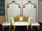 WEDDING THRONE WITH MATCHING EMBROIDERED BACKDROP