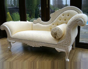 ROYAL WHITE HOME CARVED COUCH