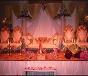 WEDDING DESIGNING STAGE WITH PARENTS CHAIRS
