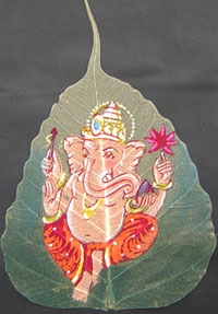 LORD GANESHA ON DRY LEAF